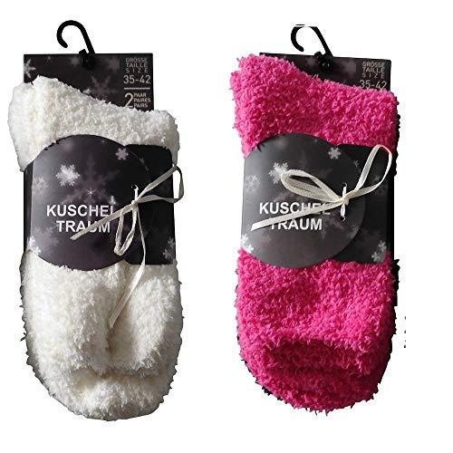 4 Paar Kuschelsocken 35-42 Uni Bettsocken Damen Kuschel Socken Haussocken (2x Weiß +2x Pink)