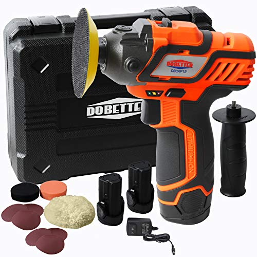"""12V Cordless Car Buffer Polisher, 3"""" Mini Polisher Tool Set with 2 Li-ion Batteries, Charger, and Accessory Kit, Dobetter-DBCAP12"""