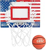 JaperBees Patriotic Over The Door & Wall-Mount Basketball Hoop w/Thick Shatterproof Backboard