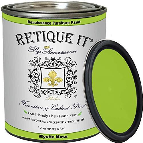 Renaissance Chalk Finish Paint - Mystic Moss - Quart (32oz) - Chalk Furniture & Cabinet Paint - Non Toxic, Eco-Friendly