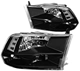 DNA Motoring HL-OH-DR09QUA-BK-CL1 Headlight Assembly (Driver and Passenger Side),Black clear