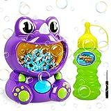 Gifort Maquina Burbujas Niños, Máquina de Burbujas Automática Portátil con Jabón Líquido 118 ml, Maquina Pompas Jabon de Dinosaurio para Niños Juguete de Baño Fiestas Bodas
