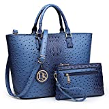 DASEIN Women's Handbags Purses Large Tote Shoulder Bag Top Handle Satchel Bag for Work (6-Ostrich Dark Blue)