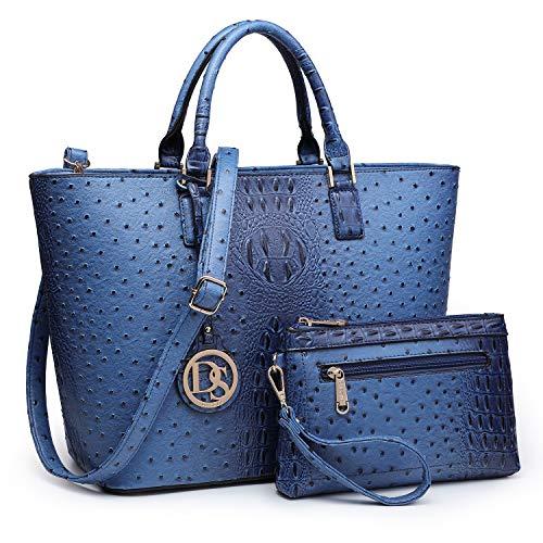 DASEIN Women's Handbags Purses Large Tote Shoulder Bag Top Handle Satchel Bag for Work (6-Ostrich Dark Blue)