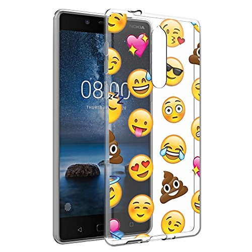 Eouine Cover Nokia 8, Ultra Slim Protective Cover Silicone, Morbido Antiurto 3D Cartoon Pattern Gel Bumper Case Custodia in TPU per Nokia 8 2017 Smartphone (Fiore Bianco)