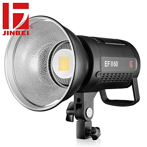 JINBEI EFII-60W LED Video Light Continuous 60Ws Ra>96 F970 Battery(Not Included) with Bowens Mount Reflector for Video Lighting Portrait Baby Photography Still Life