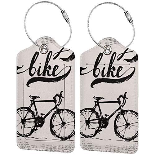 Vintage negro y blanco bicicleta personalizada cuero maleta de lujo etiqueta Set...