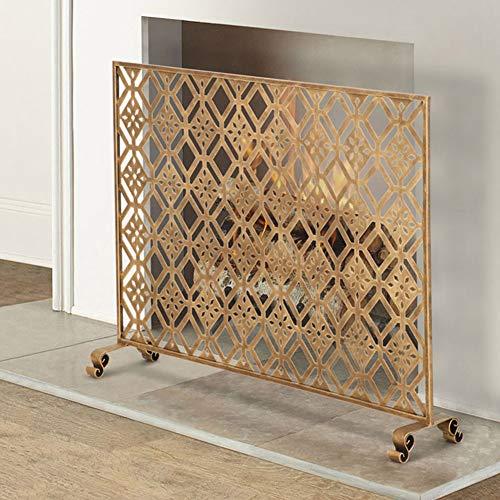 HYDT Kaminfunkenschutz Kamin-Trennwand aus Schmiedeeisen mit Netzabdeckung, Einzelwand-Brandschutzgitter für den Außenbereich, 100 × 22 × 80 cm (Color : Gold, Size : 100×22×80cm)