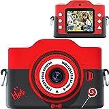 【2021最新版】子供カメラ 子ども用デジタルカメラ 7000万画素 8倍ズーム HD録画 タイマー撮影 自撮り機能 HD画質 操作簡単 32GBメモリーカード付き USB充電 子供プレゼント (red)