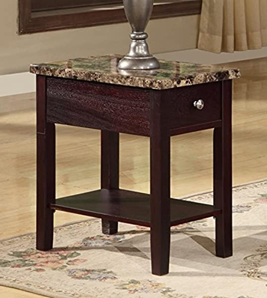 GTU Furniture Faux Marble Top Drawer Wood Side End Table In 3 Colors Cappuccino