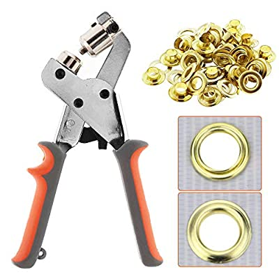 BEAMNOVA Grommet Handheld Hole Punch Pliers Grommet Machine Hand Press Tool with 500 Silver Grommets
