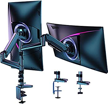 HUANUO Dual Monitor Mount Stand - Aluminum Gas Spring Arm Height Adjustable Monitor Desk Mount VESA Bracket for Two 17 to 32 Inch Flat / Curved LCD Computer Screens with C Clamp Grommet Base