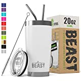 BEAST 20oz White Tumbler - Stainless Steel - BPA Free Stainless Steel Coffee Cup with Lid, 2 Straws, Brush & Gift Box
