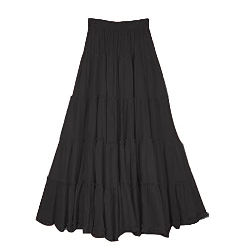 4e5464807 CoutureBridal Womens Elastic Tiered Boho Long Circle Broomstick Peasant  Skirt Dance