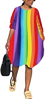 IyMoo Rainbow Plus Size Dress - Women's Colorful Oversized Dresses Casual Long Sleeve Party Night Sexy Midi Shirt Dress