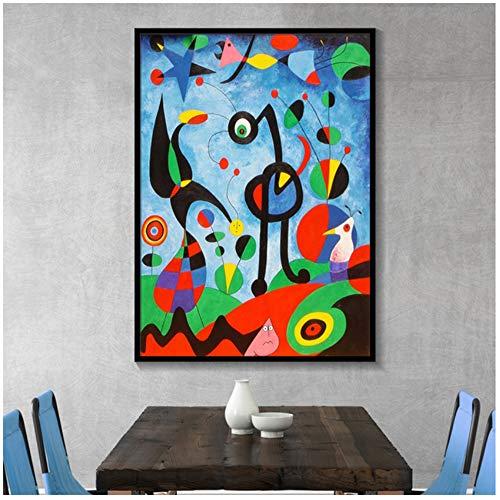 NIEMENGZHEN Druck auf Leinwand Joan Miro Abstrakte Aquarell Wandkunst Poster und Drucke Leinwand Malerei Wohnzimmer Home Decoration Bilder 19,6