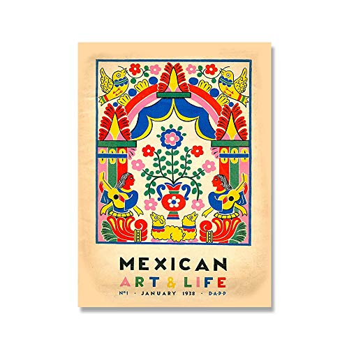 El Maestro Vintage Kaktus Poster und Druckkunst Mexikanische Wandkunst Bild nach Hause rahmenlose dekorative Leinwand Malerei A1 40x60cm