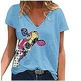 Camiseta de mujer de tallas grandes, blusa gráfica, elegante, de manga corta, cuello en V, básica, para verano, túnica, Azul A., M