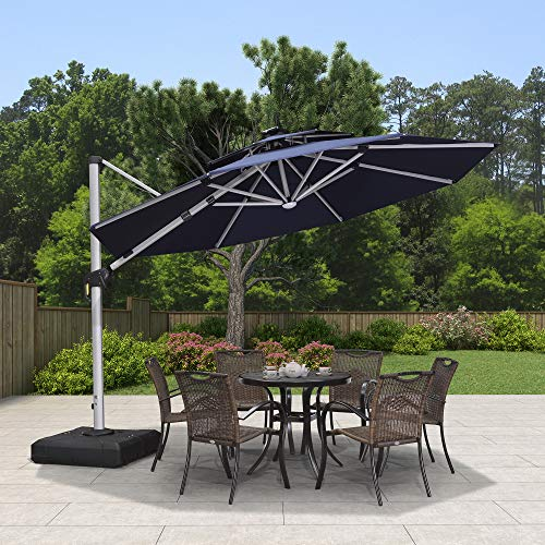 PURPLE LEAF 11ft Solar Powered LED Patio Umbrella Outdoor Round Umbrella Large Cantilever Umbrella with LED Lights Windproof Offset Umbrella Sun Umbrella for Garden Deck Pool Patio, Navy Blue