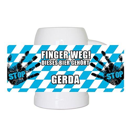 Lustiger Bierkrug mit Namen Gerda und schönem Motiv Finger weg! Dieses Bier gehört Gerda | Bier-Humpen | Bier-Seidel
