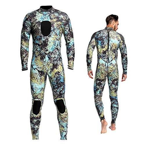 Wetsuits Mens 3MM Camo Neoprene Scuba Diving Unisex One Piece Sport Skin Spearfishing Full Suit (XL)