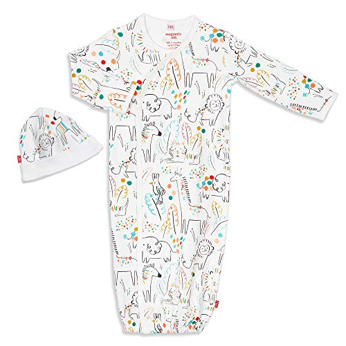 Magnetic Me Baby Gown & Hat Sleep Outfit Boys Organic Cotton Layette Sack Set with Magnet Fasteners Newborn - 3 Months Pop Jungle