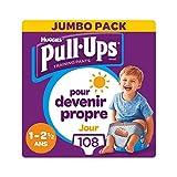 Huggies Pull-Ups, Culottes d'apprentissage de jour pour garçons, Taille 1-2,5 ans, 108 culottes