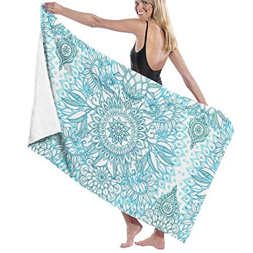 LREFON Toallas Patrón de Doodle de Protea Azul Turquesa, Verde Azulado y Blanco para la Ducha,Toallas de baño, Fitness, Deportes al Aire Libre