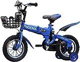 WJJH Biciclette per Bambini con Biciclette Pieghevoli stabilizzatori Bambini Pieghevoli della Moto Biciclette 6-9 Bambino di Anni carro 12 14 16 18 Pollici Ragazzi e Ragazze Bici con rotelle,A,18in