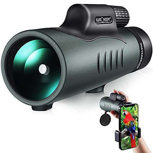 K&F Concept Telescopio Monoculare 12*50,HD BAK4 Monocolo Professionale Impermeabile IP68 con Clip per Cellulare, Canocchiale Monoculare per Bird Watching, Caccia,Campeggio,Viaggio, Partite di Calcio.