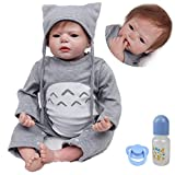 MAIHAO Lebensechte Puppe Reborn Babypuppe Junge Silikon Reborn Babys Grau Outfit 55 cm