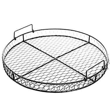 County Rustic Style Chicken Wire Round Metal Mesh Decorative Serving Tray w/ Handles