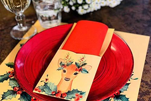 Christmas Napkin Rings Christmas Table Decor Christmas Table Setting, Reindeer Decor Napkin Holder and Silverware Holder Pak of 12
