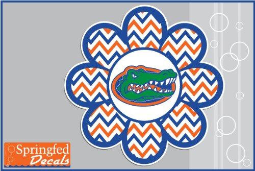 Florida Gators GATOR HEAD Logo on CHEVRON FLOWER 4' Vinyl Decal Car Truck Window UF Sticker FBA