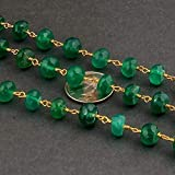 World Wide Gems Beads Gemstone 1 Feet Green Onyx Ronelle Rosary Style 7-8mm Faceted Beaded Chain - Wire Wrapped 24k Gold Plated Chain Code-HIGH-14546