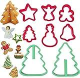 Juego de cortadores de galletas navideños, 8 piezas de plástico para galletas, estrella, ángel, hombre de jengibre, árbol de Navidad, muñeco de nieve, campana, árbol de Navidad 3D, tamaño pequeño