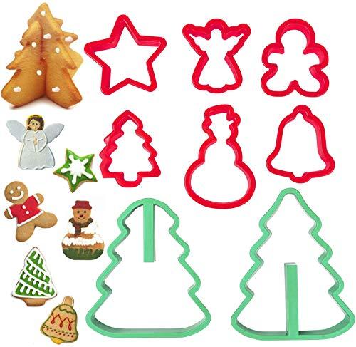 Set di 8 formine per biscotti di Natale, in plastica, con stella, angelo, omino di pan di zenzero, albero di Natale, pupazzo di neve, campana, albero di Natale 3D, piccole dimensioni