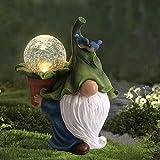 Gartendeko Figuren,Garten Gnome Statue Solar Leuchte,Gartenzwerg-Statue Dwarf Statue-Resin Ornament mit Solar LED Beleuchtung,Harz Gnom Figur Tragen Magie Kugel Gartenzwerge für Balkon,Garten (A)