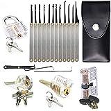 POVIA Juego de 15 Ganzúas-Lock Pick Set con 4 Cerraduras de Entrenamiento transparente para Aprendizaje-Guía para el Entrenamiento de Principiantes y Cerrajeros Profesionales-Bolsa de Cuero Portátil