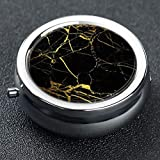 3 Compartment Pill Box Tough Black and Gold Marble Travel Kit Storage Metal Round Silver Button Pill Dispenser Large Compartment Vitamins Fish Oil Supplements