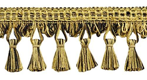 DecoPro TFDK025 Quastenborte, 64 mm, Schwarz / Gold, Camel Quaste, Farbe: Havana – N18, Verkauf pro Meter, 91 cm
