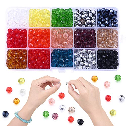 750pcs 8mm Glass Beads for Jewelry Making, Lucky Goddness Briolette Faceted Rondelle Shape Colourful Crystal Spacer Beads Assortments Supplies for Making Handcrafts, DIY Bracelets Necklaces