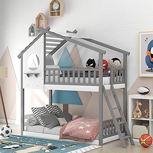 Twin Over Twin Bunk Bed House Bunk Bed Frame Low Bunk Beds Wood Bunk Bed with Roof, Window, Guardrail, Ladder for Kids, Teens, Girls & Boys Bedroom Furniture (Gray)