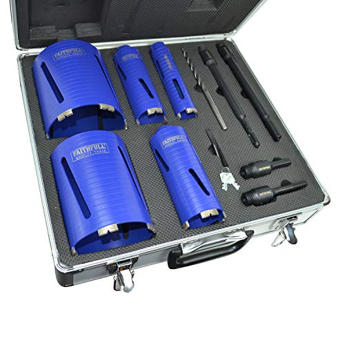 Faithfull FAIDCKIT11 11 Piece Diamond Core Drill Kit in Case. Includes: 38, 52, 65, 117 & 127mm Cores
