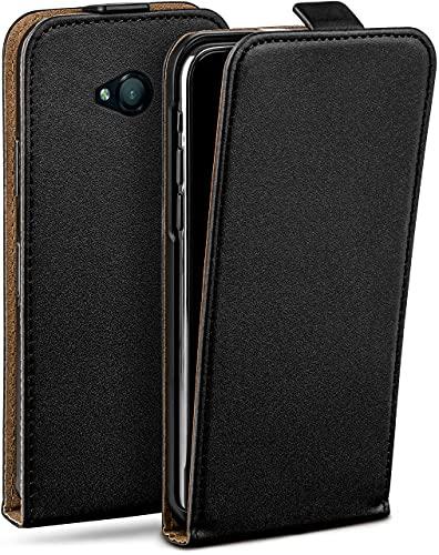 moex Flip Hülle für Microsoft Lumia 550 Hülle klappbar, 360 Grad R&um Komplett-Schutz, Klapphülle aus Vegan Leder, Handytasche mit vertikaler Klappe, magnetisch - Schwarz