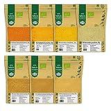 BIO Indische Gewürzmischungen Masala 7er SET - Garam Masala, Chicken Curry, Hot Bombay Curry, Asiatische Curry, Koriander gemahlen, Kurkumapulver, Chai Masala - 140g