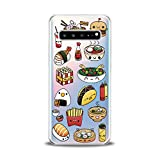 Lex Altern TPU Case for Samsung Galaxy s10 Plus 10e Note 10 5G 9 s9 s8 Clear Food Sushi Cute Cover Kawaii Print Taco Protective Transparent Flexible Girl Women Silicone French Fries Junk Fast Popcorn