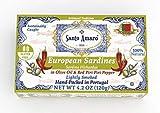 SANTO AMARO European Wild Sardines in Olive Oil & Piri Piri Pepper (12 Pack, 120g Each) Lightly...