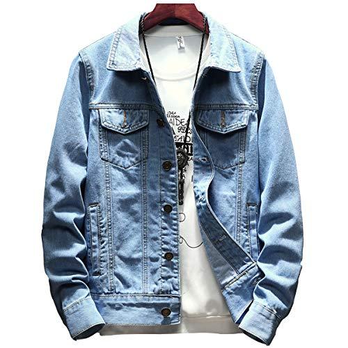 Sukinana デニム ジャケット アウター メンズ ジージャン 綿 Gジャン 大きいサイズ カジュアル ファッション 春秋 冬服 メンズ 服 (Medium, ライトブルー)