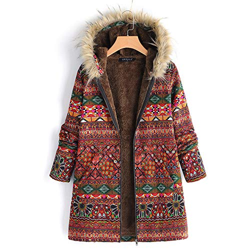 LUCAMORE Womens Warm Coat Vintage Print Two Pieces Plus Size Jacket Overcoat Cardigan Jacket Cardigan Button Outwear